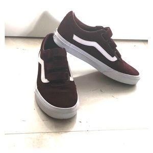 Vans Shoes | Maroon Velcro | Poshmark